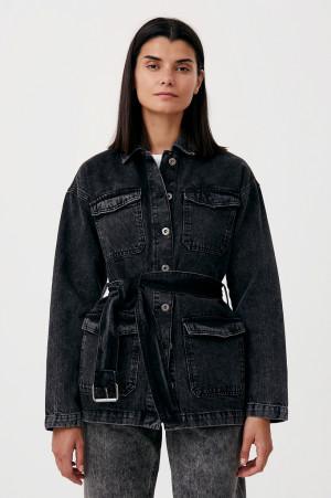 джинсовая женская куртка в стиле милитари с поясом Finn-Flare